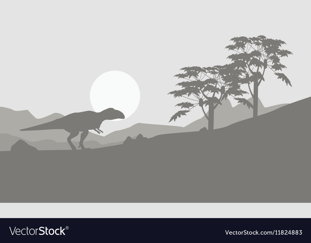 Mapusaurus on the hill scenery vector image