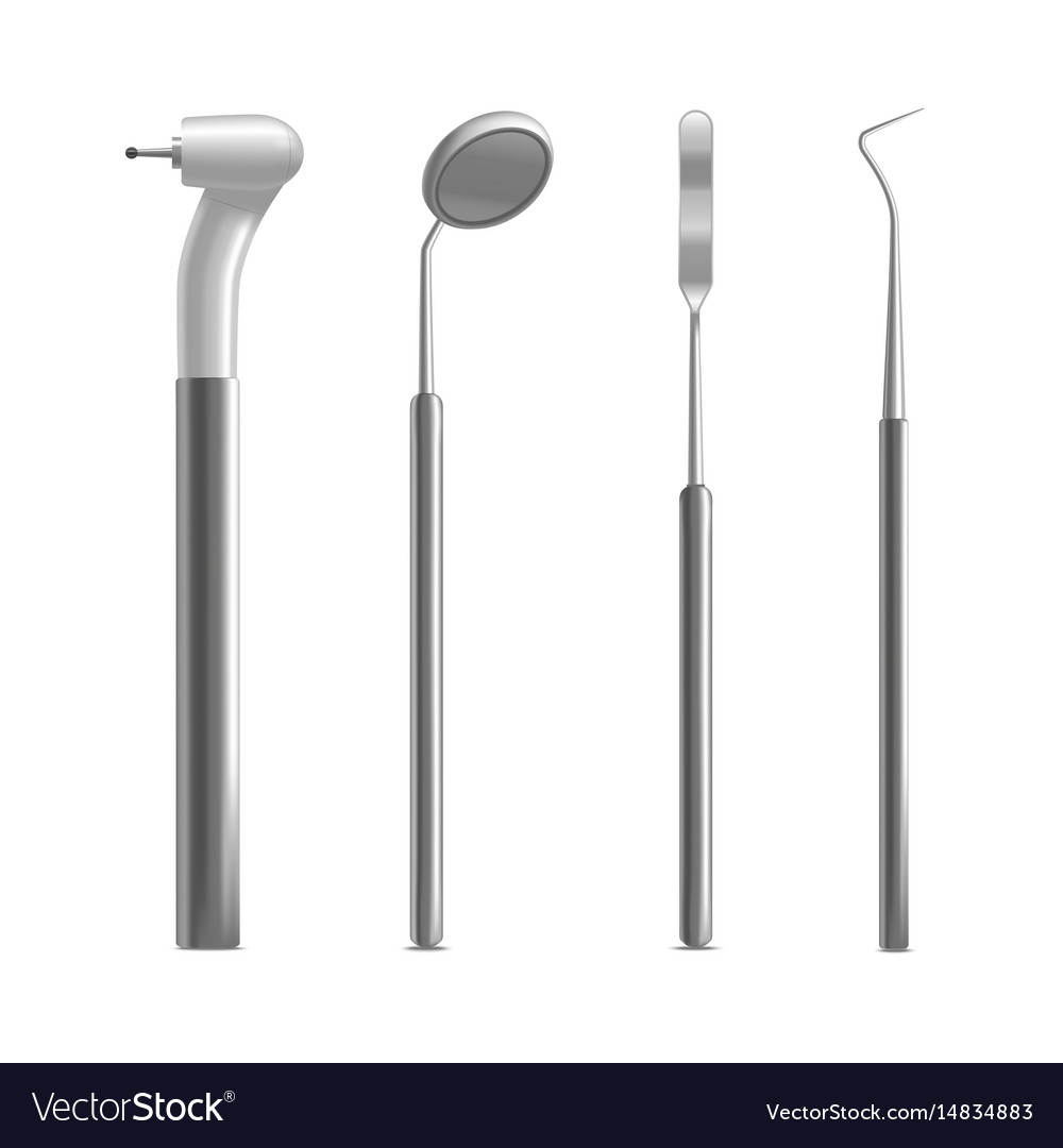 Realistic metal dental equipment or instruments vector image