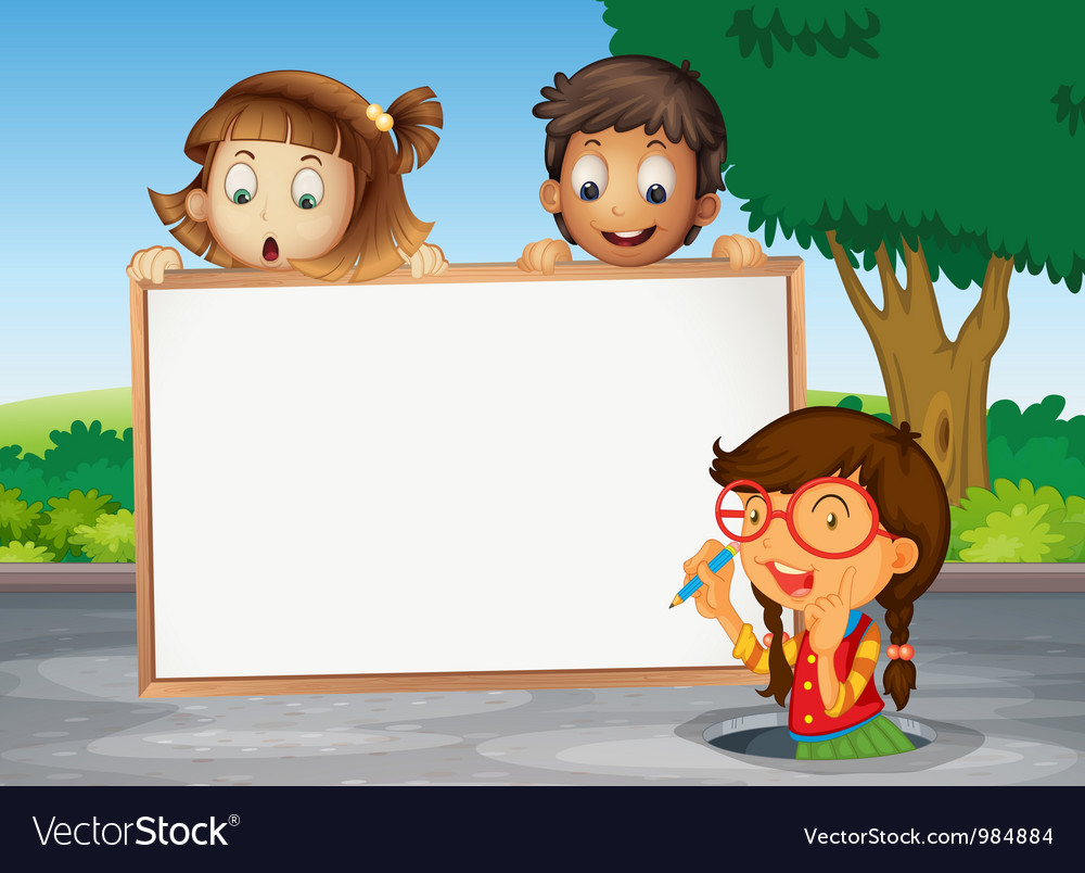 Kids and white board Vector Image