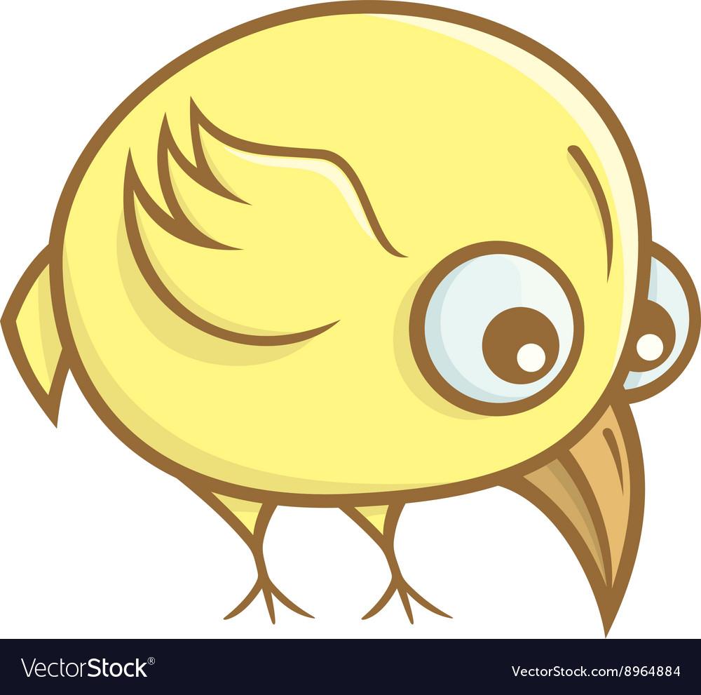 Yellow bird cartoon vector image
