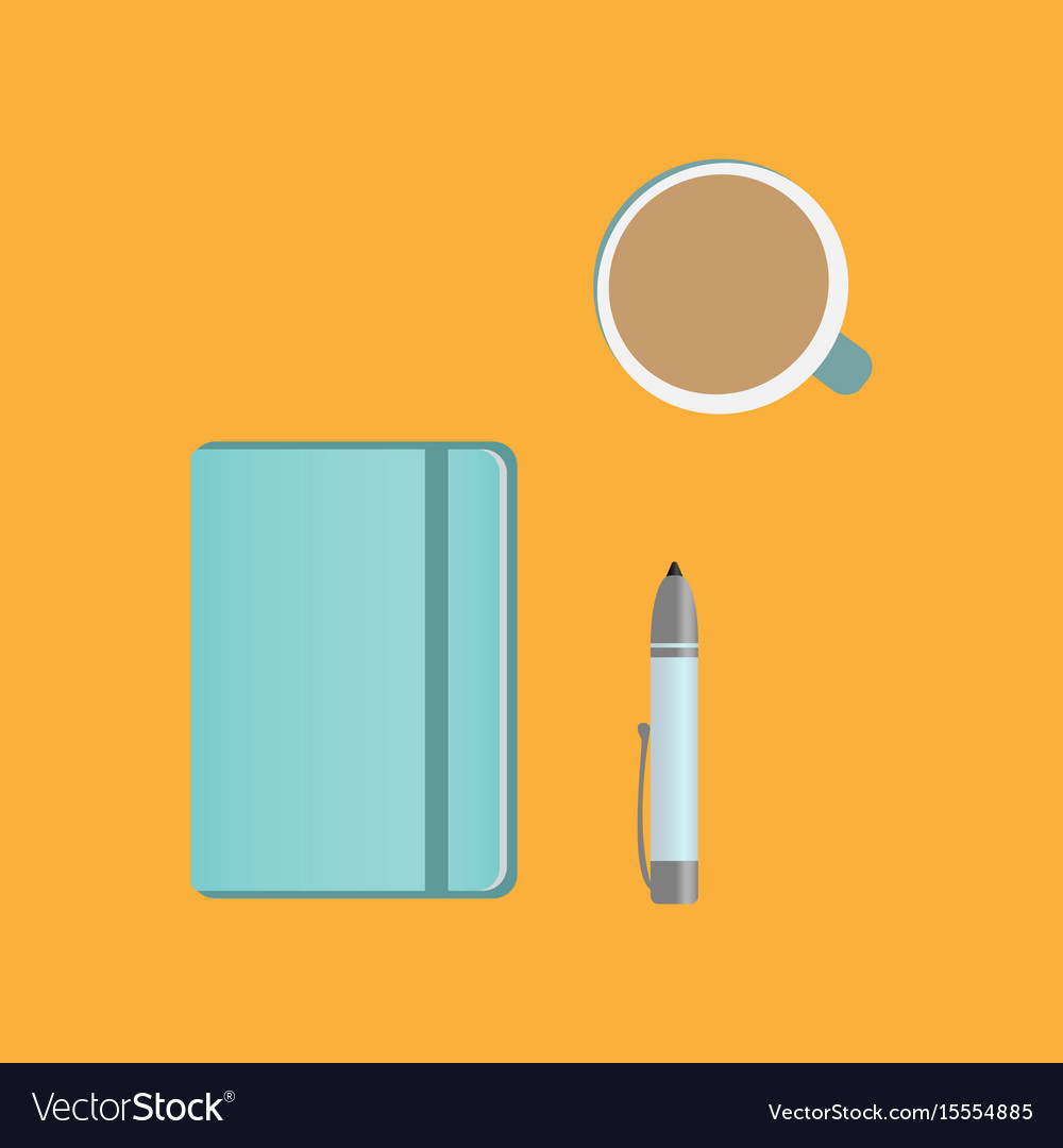 Clipboard pencil and coffee on the table vector image