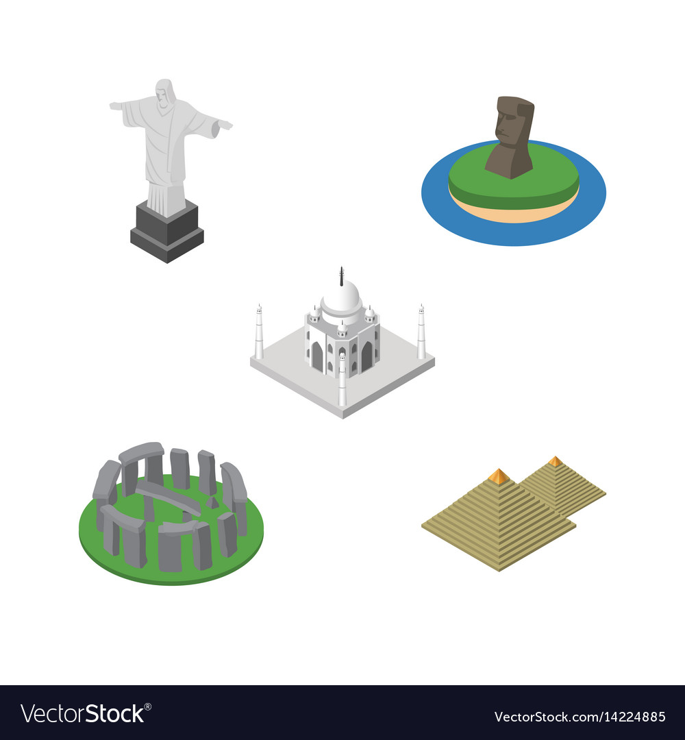 Isometric architecture set of india mosque vector image