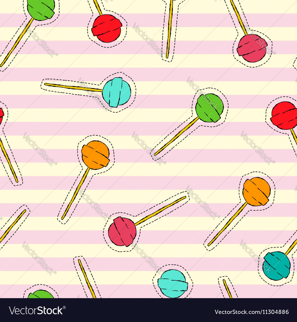 Candy lollipop art stitch patch background vector image