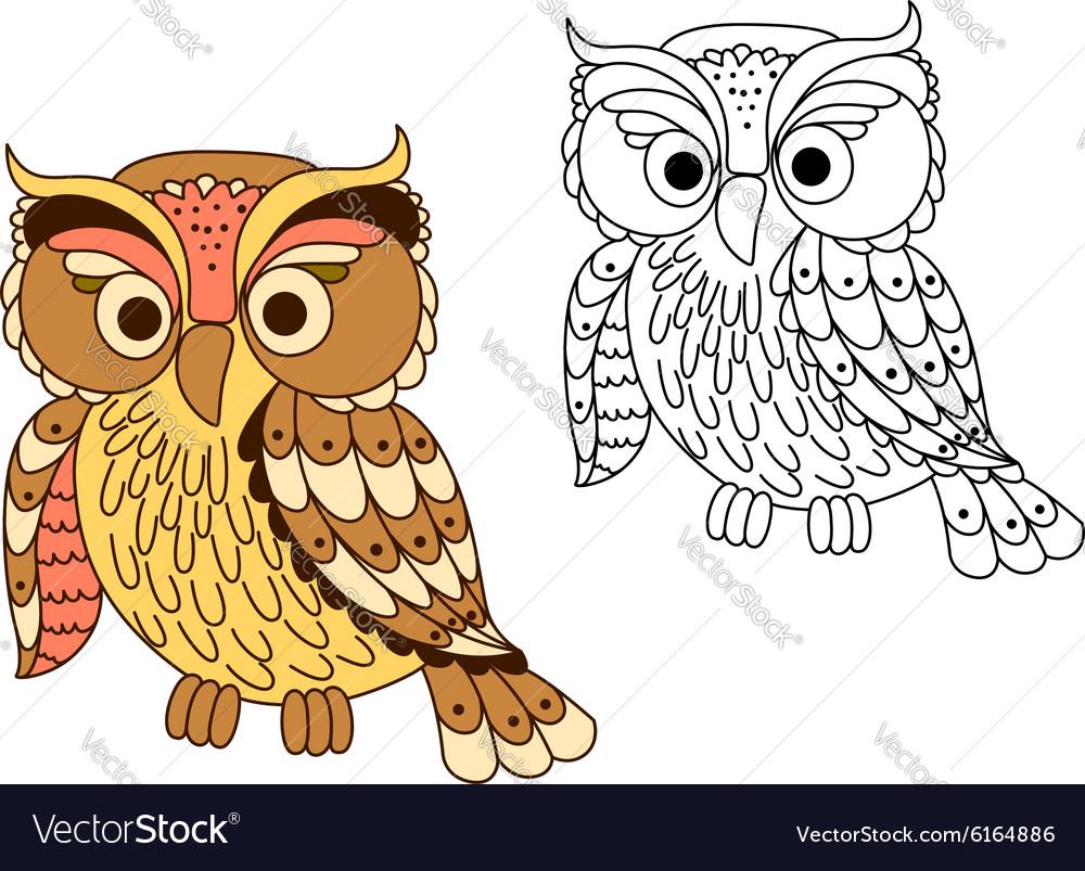 Cartoon owl bird in pastel colors vector image