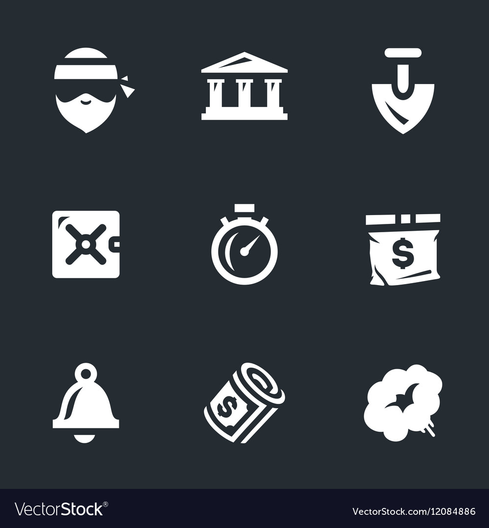 Set of Bank robbery vector image