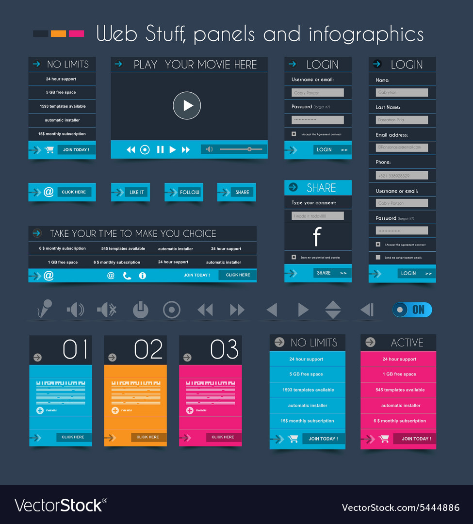 Web Design Stuff price panel and infographic vector image