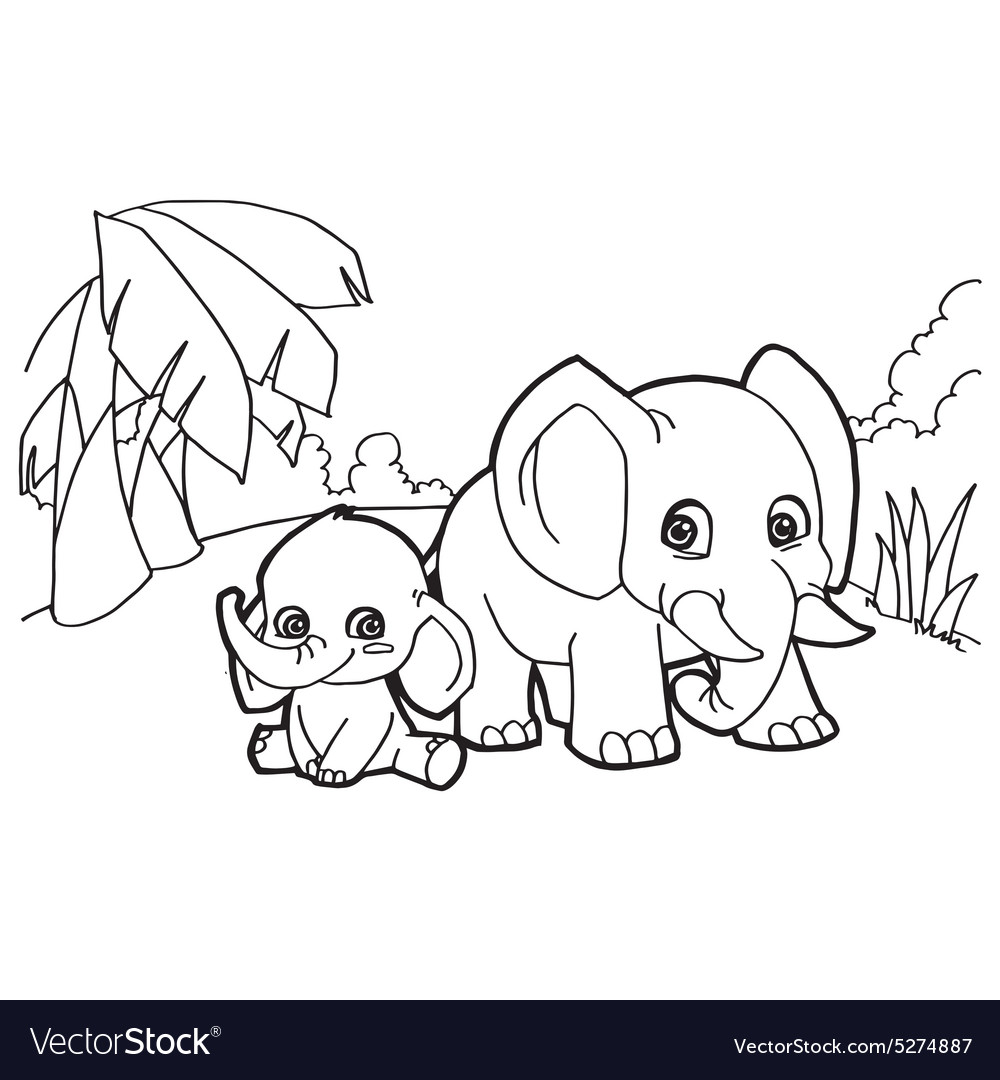 elephant cartoon coloring pages royalty free vector image