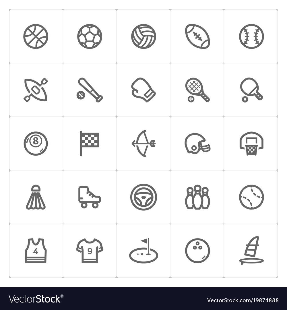 Mini icon set - sport icon vector image