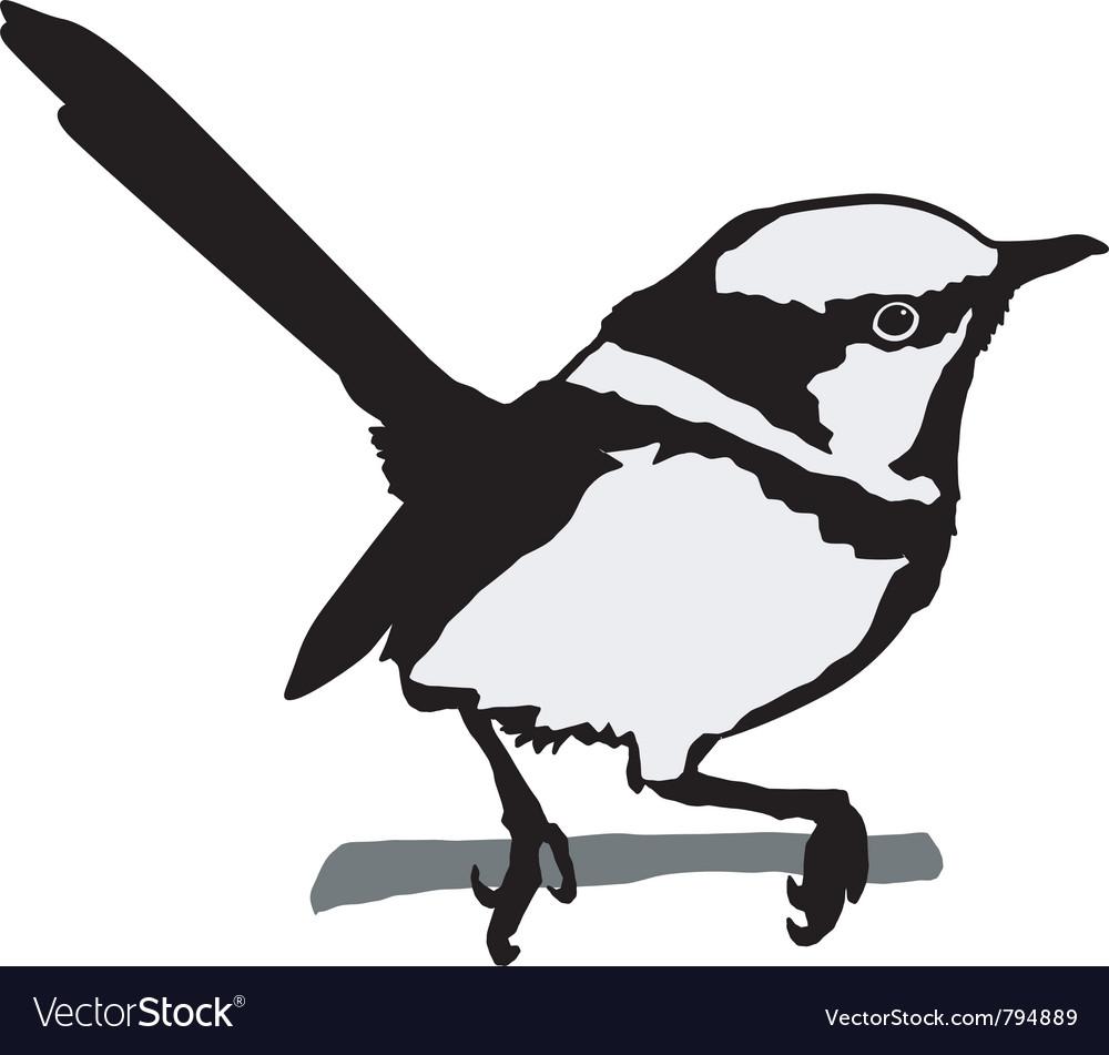 Black silhouette of wren vector image