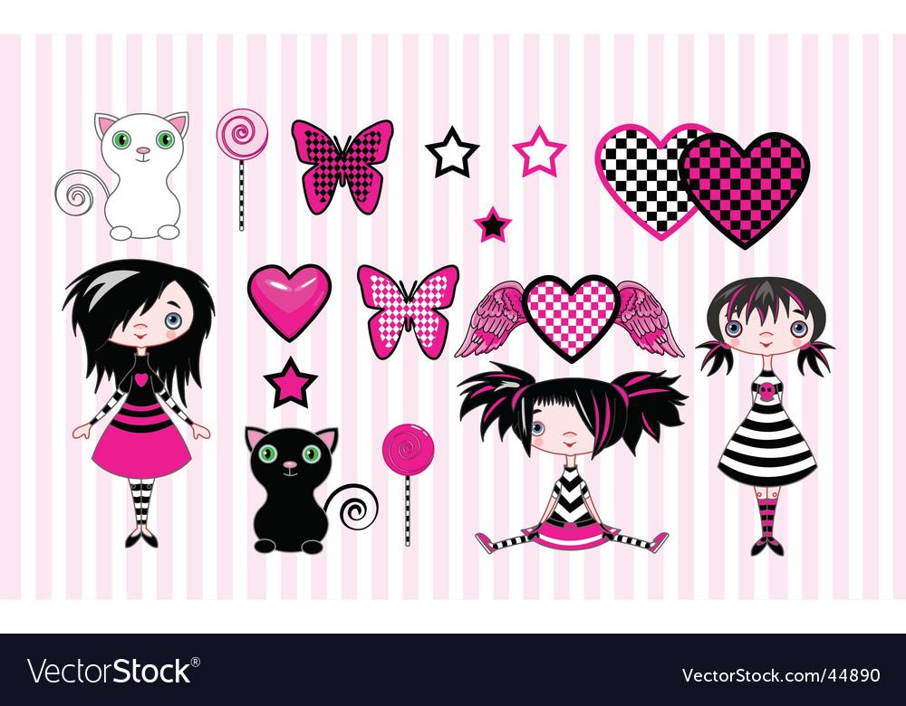 Emo girls vector image