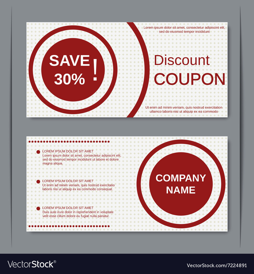 Discount coupon design template Royalty Free Vector Image – Discount Coupons Templates