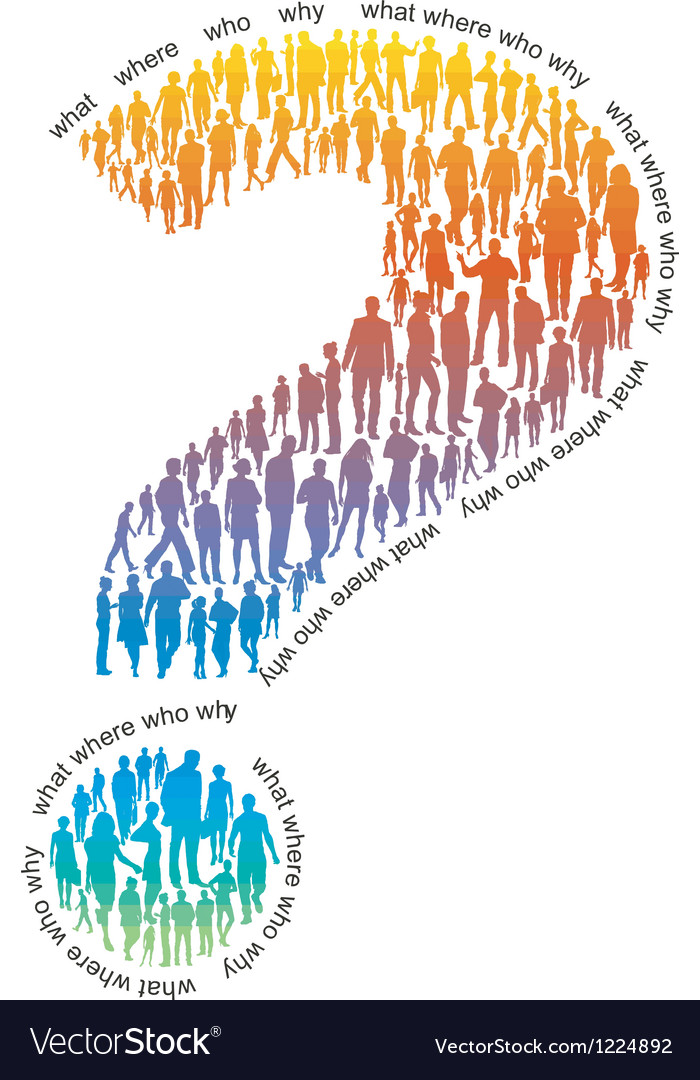Question mark of colorful people Vector Image