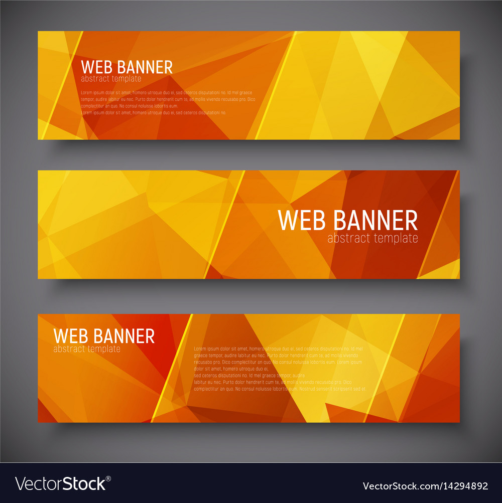 Template banners with abstract polygonal vector image