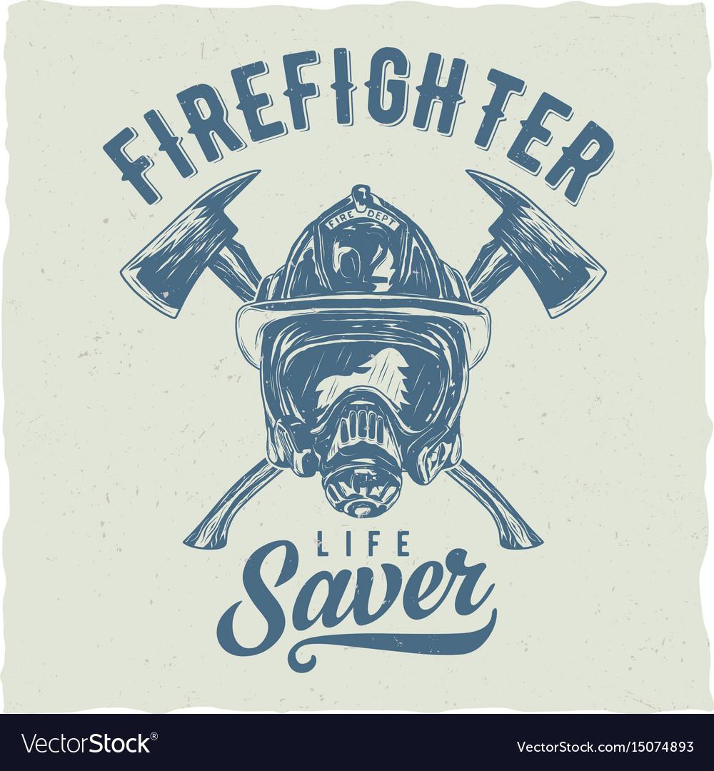 Firefighter t-shirt label design vector image