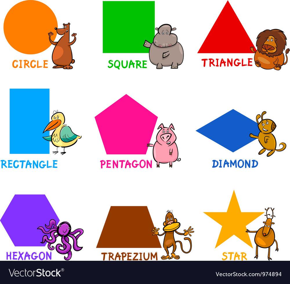 Basic Geometric Shapes with Cartoon Animals vector image