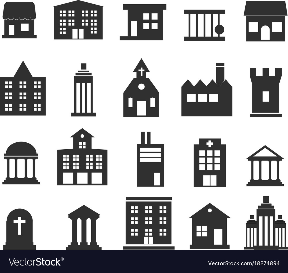 Buildings icons set on white background vector image