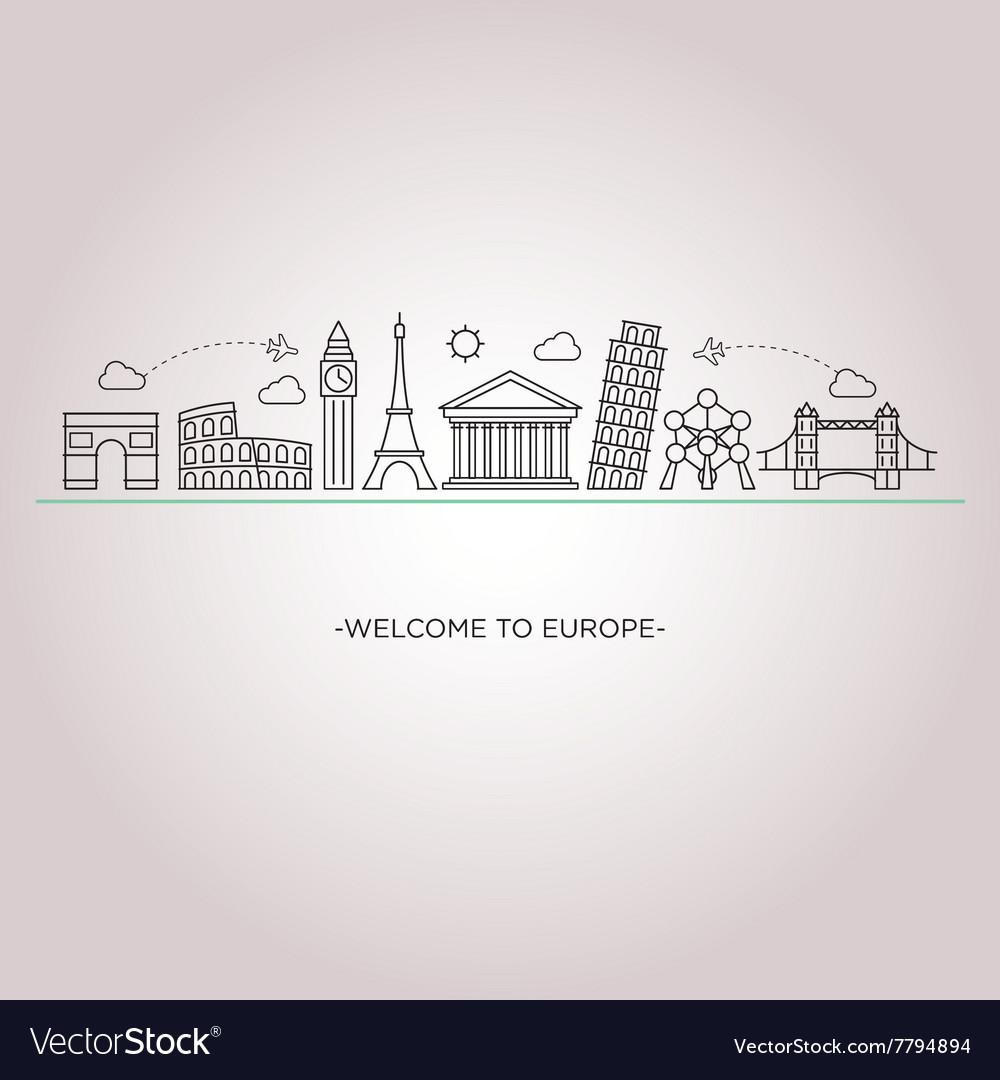Europe skyline silhouette line style vector image