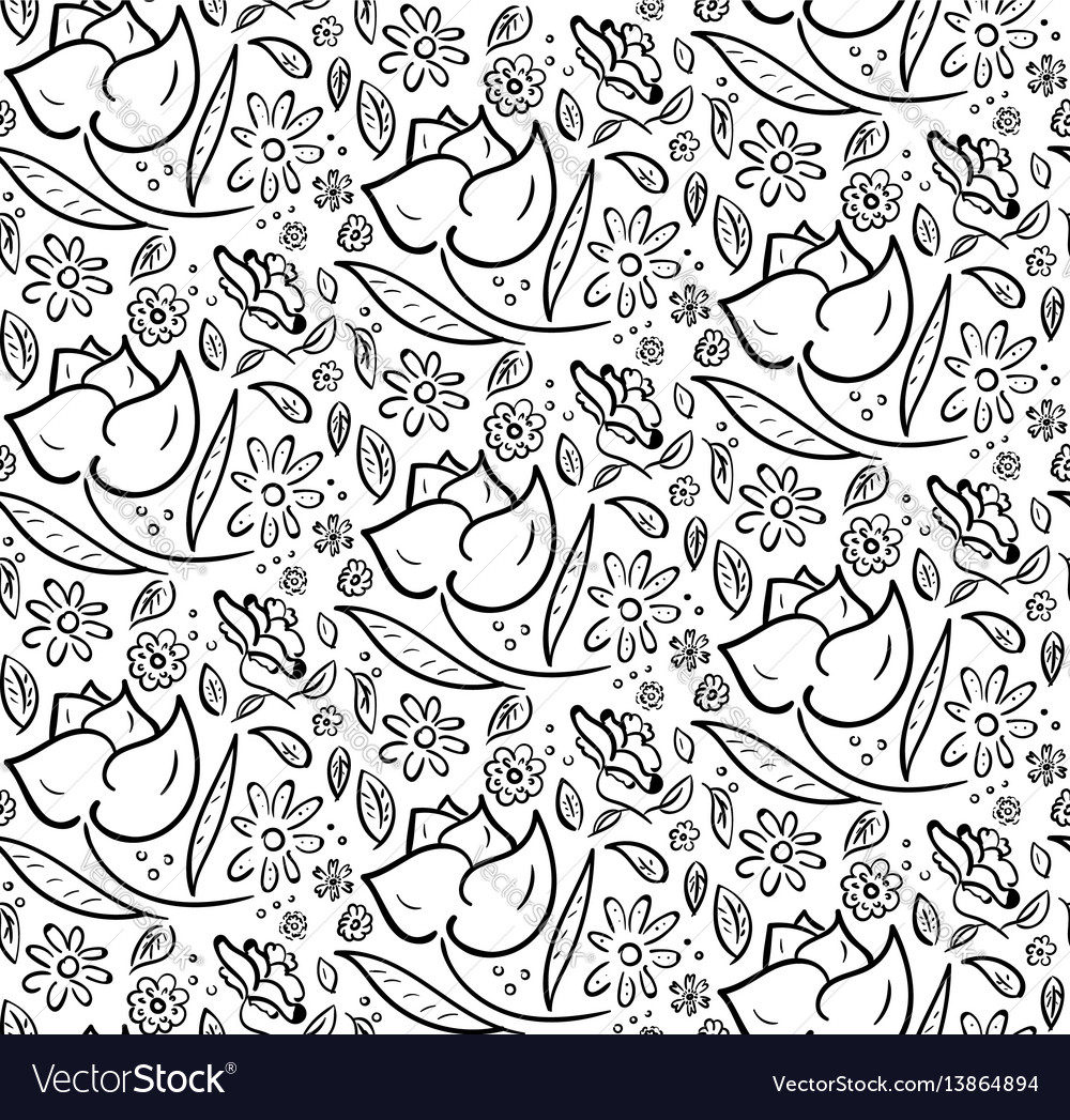 Monochrome hand drawn floral pattern vector image