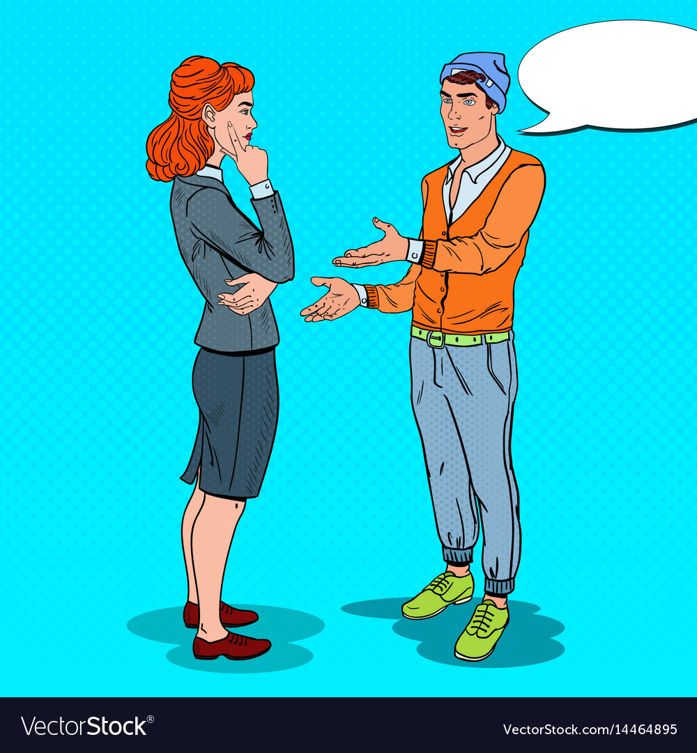 Man talking with business woman in office pop art vector image
