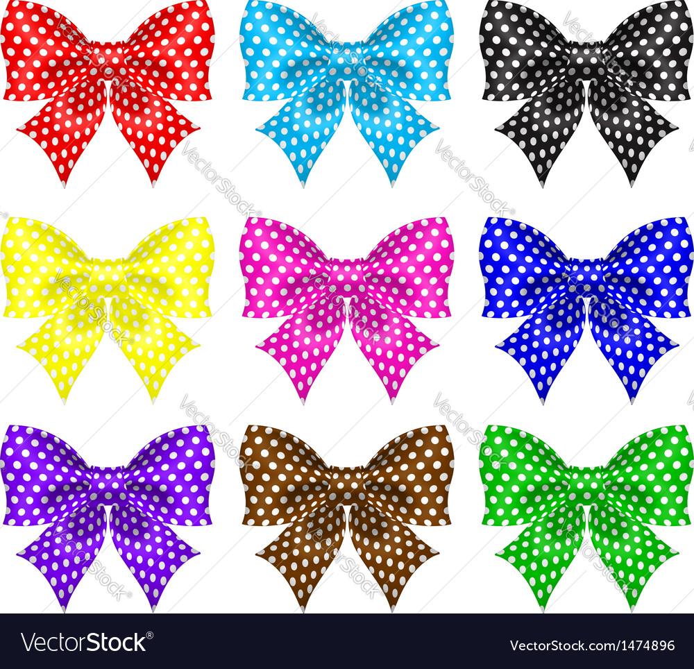 Bows with polka dot vector image