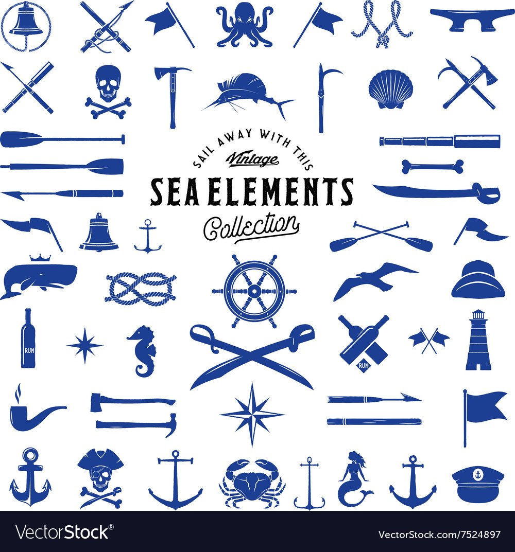 Vintage Sea or Nautical Icon Elements Set vector image