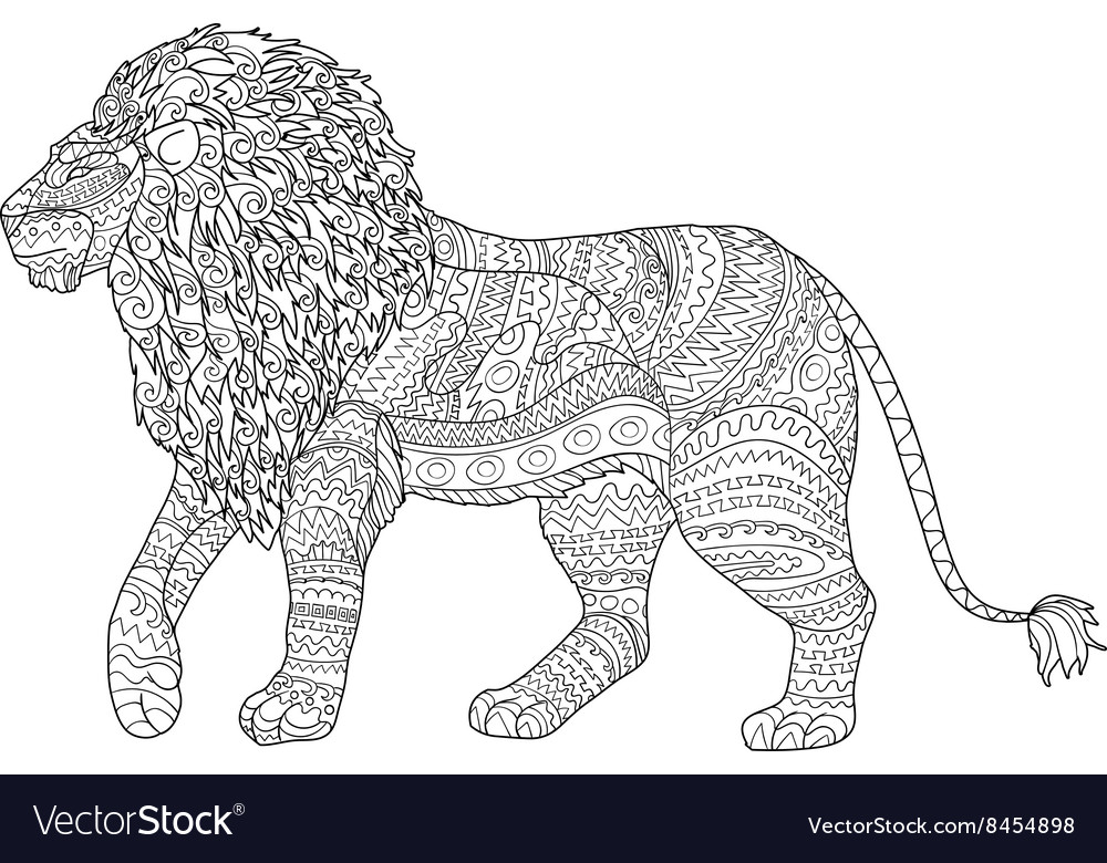 adult coloring page for antistress with lion vector image - Lion Coloring Pages For Adults