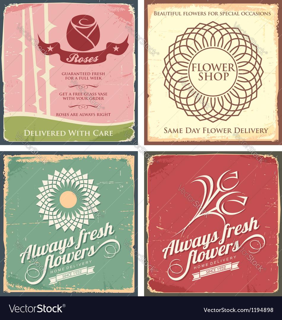 Vintage set of metal tin signs for flower shop vector image