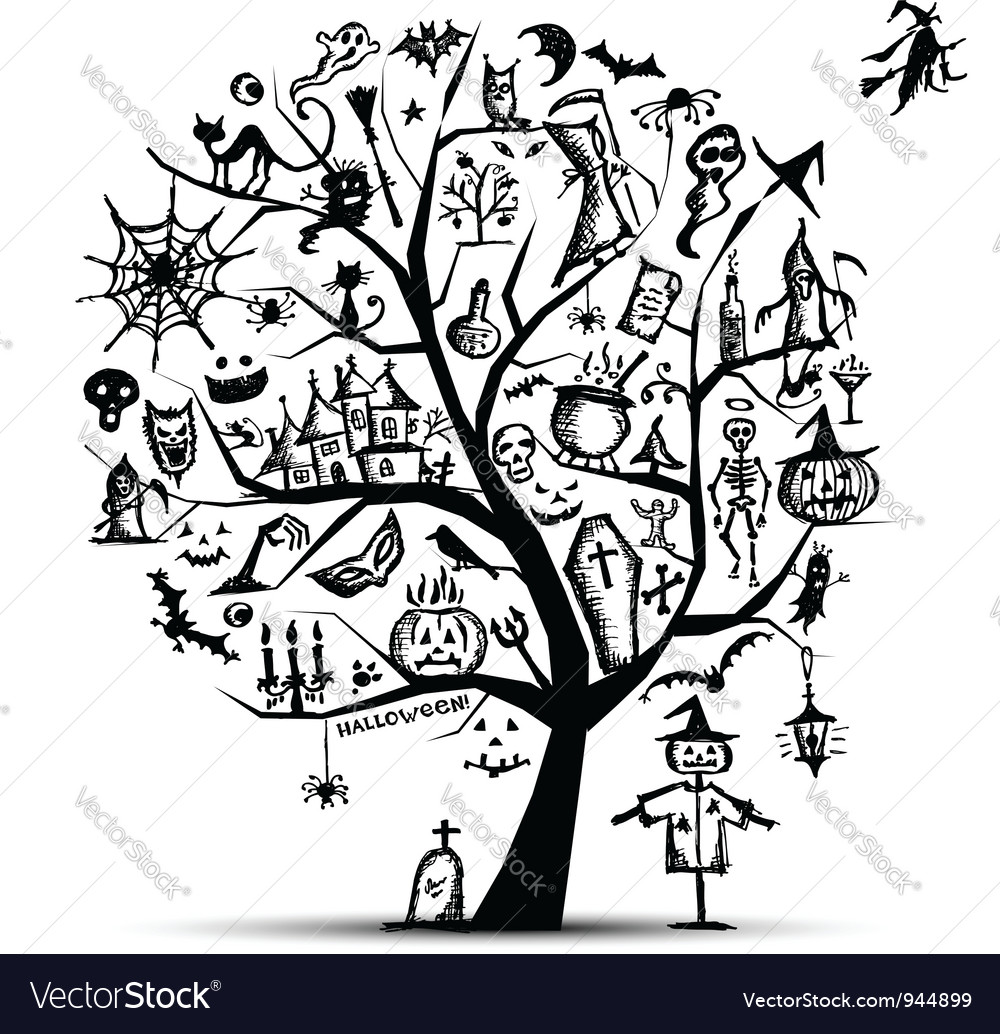 halloween tree for your design vector image - Black Halloween Tree
