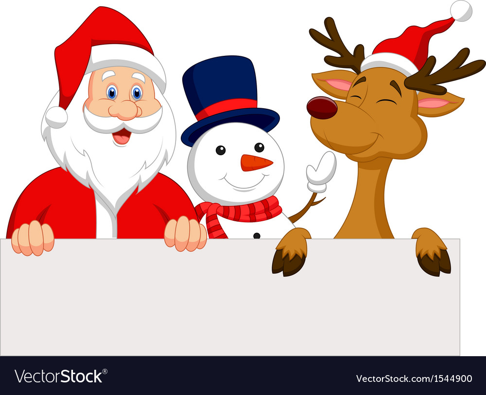 Cartoon Santa Claus reindeer and snowman with bla vector image
