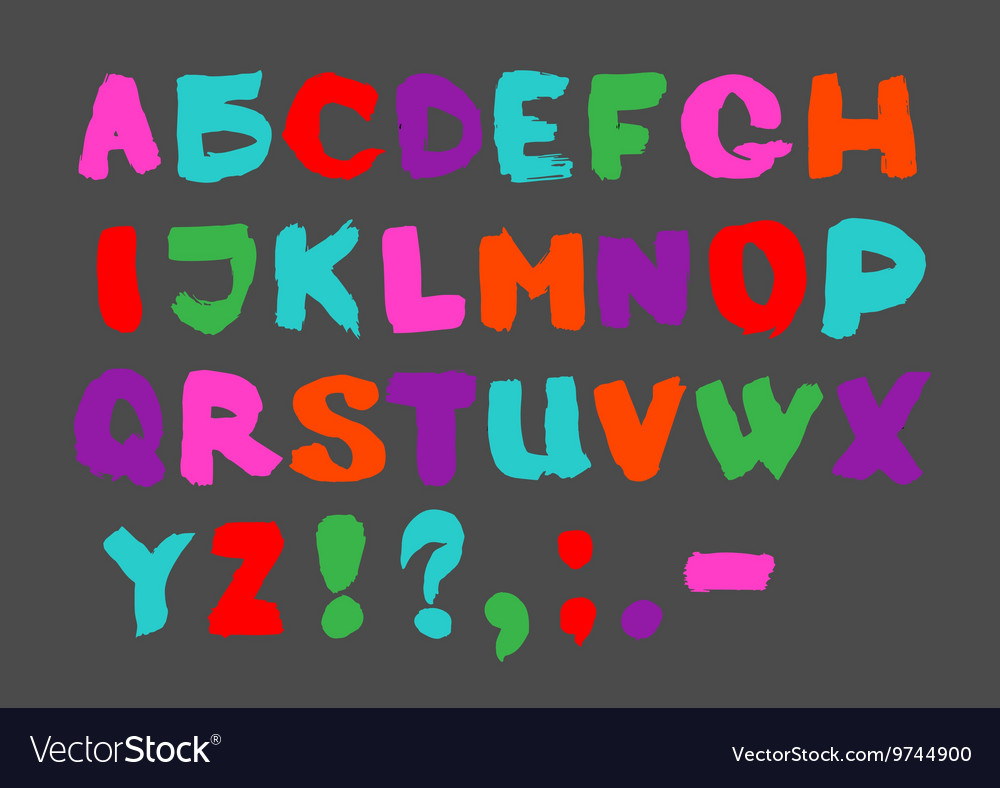 Colorful English alphabet on a gray background vector image