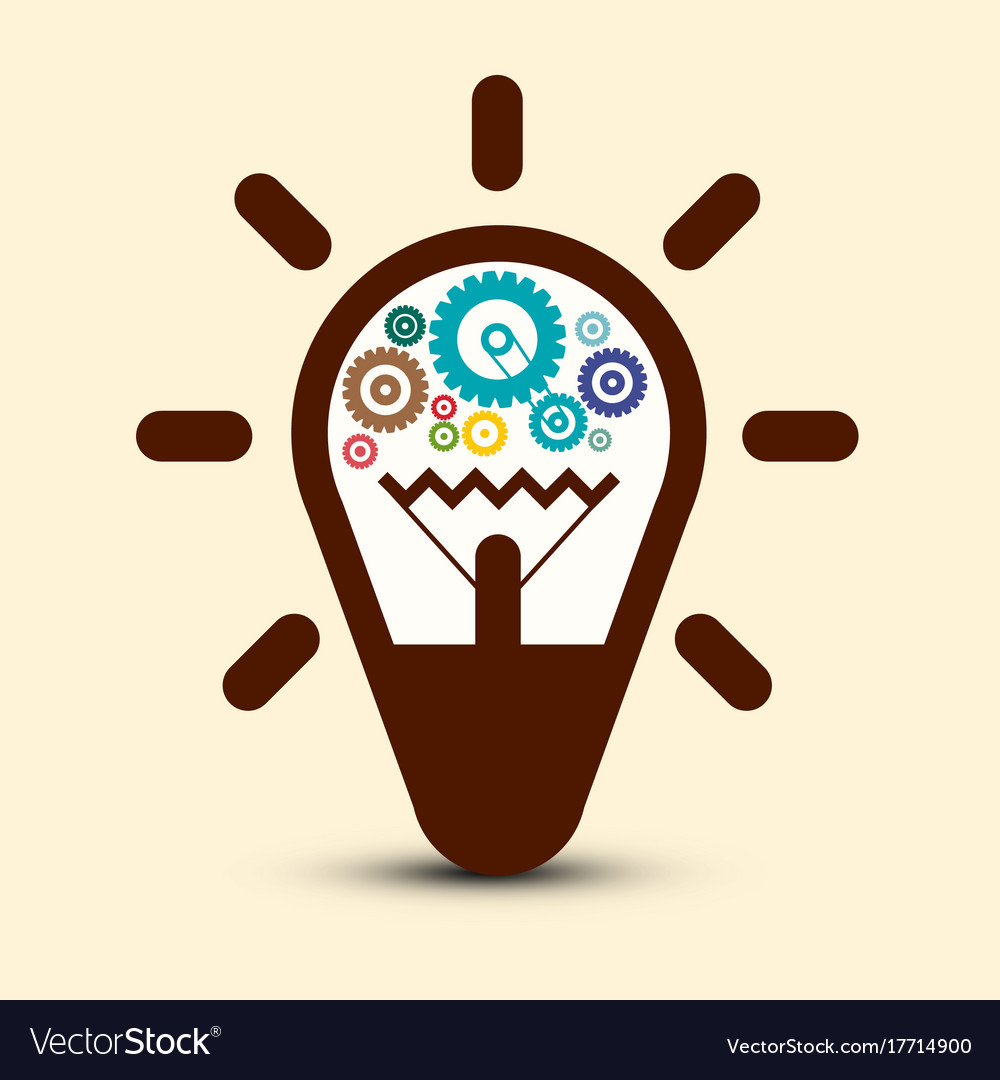 Light bulb with cogs - gears symbol vector image
