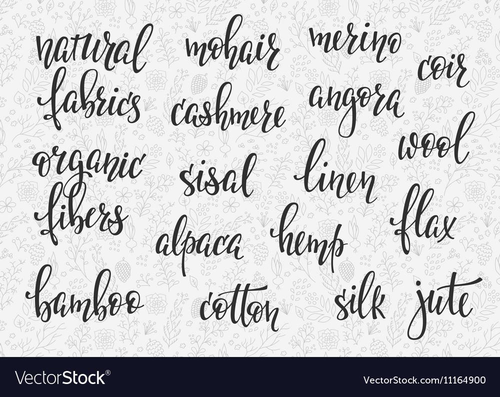 Natural fibers types lettering set vector image