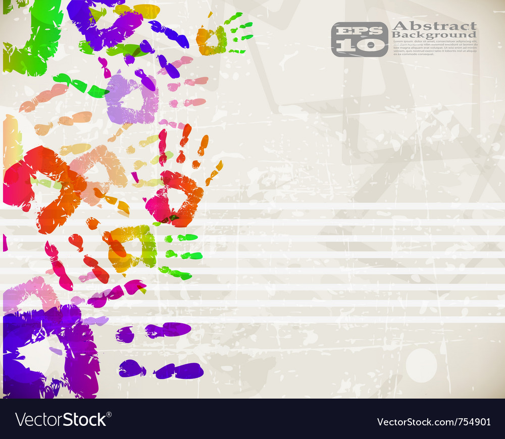 Colorful handprint design vector image