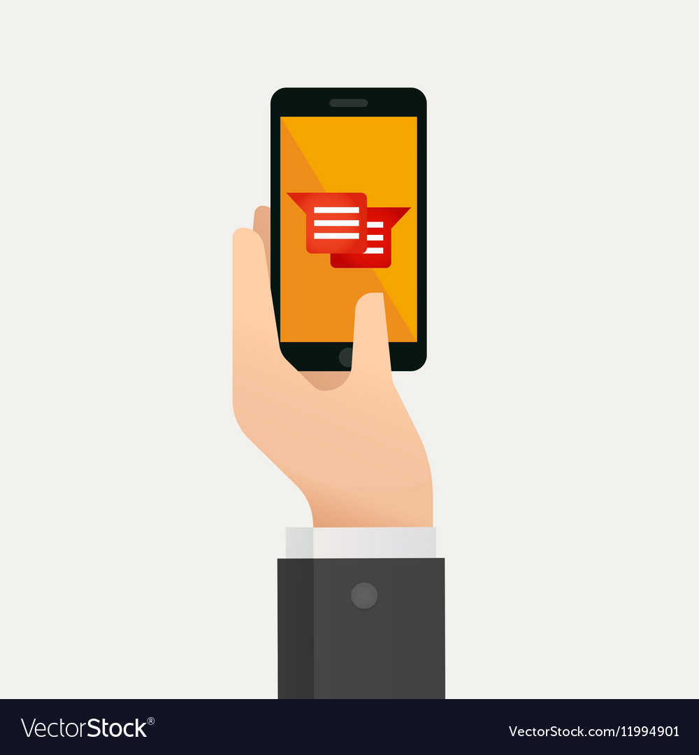 Hand holding smartphone with message icon vector image