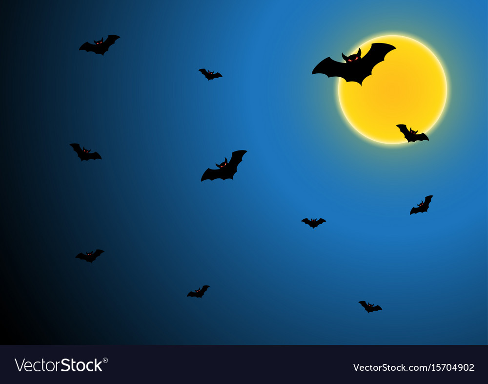 Halloween bat fly with moon and sky vector image