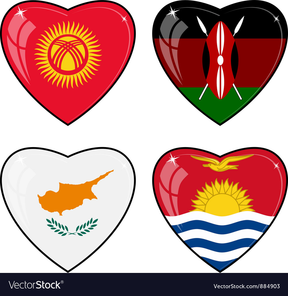 Set of images of hearts with the flags of Kenya vector image