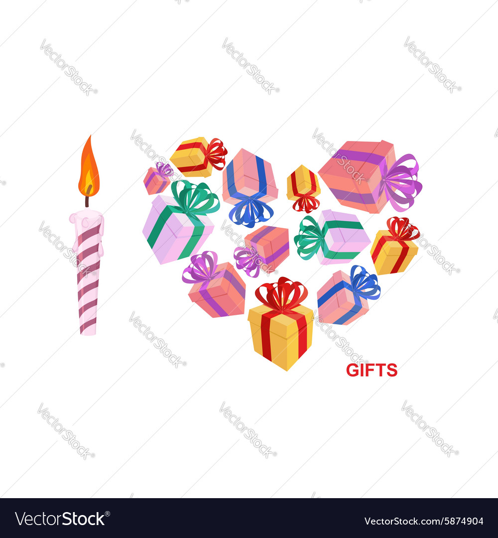 I love gifts Symbol of heart of boxes of gifts vector image