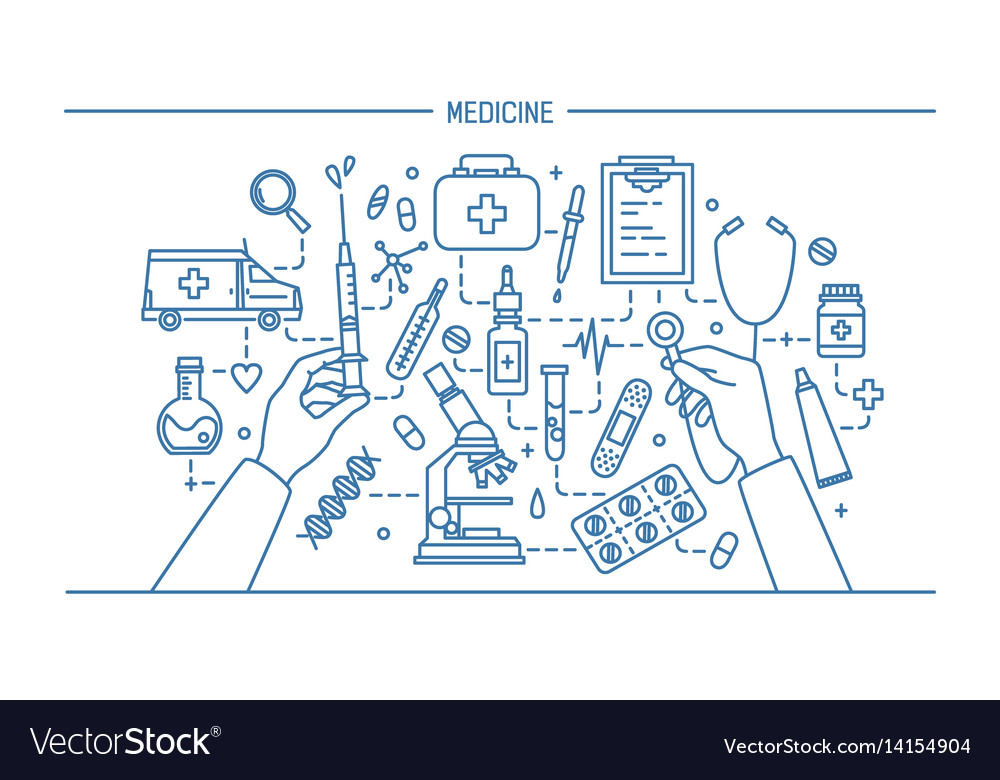 Medicine lineart banner contour vector image