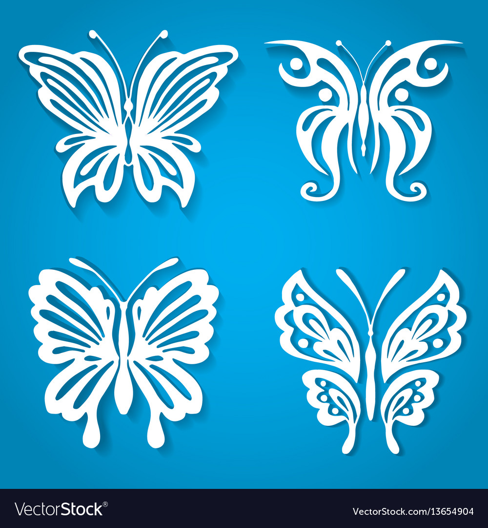 Set of decorative butterfly decorated with vector image