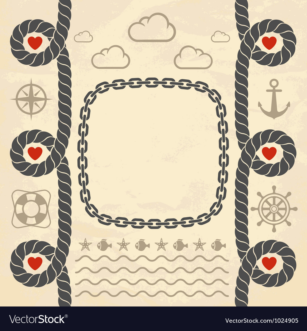 Valentine in marine style vector image