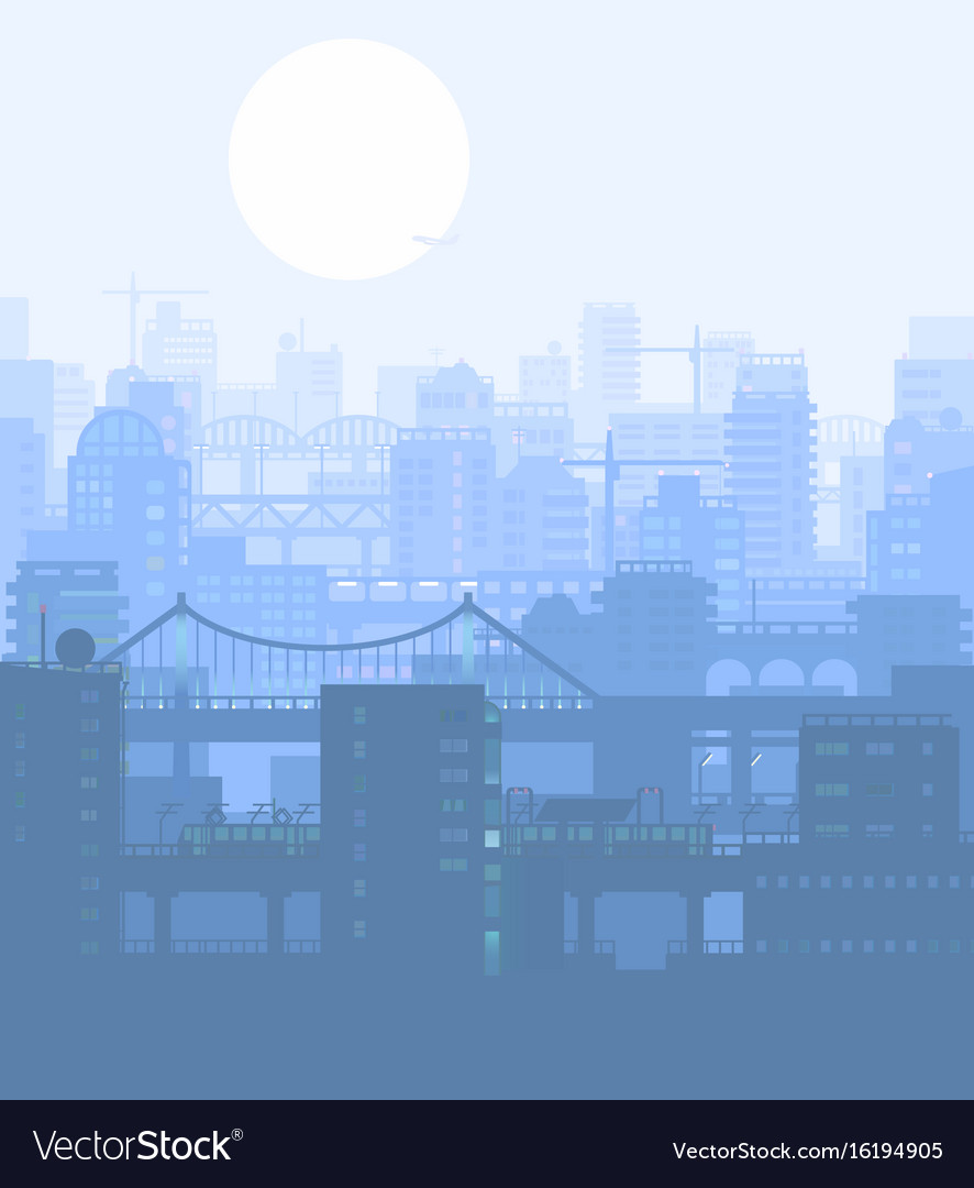 Blue city buildings view vector image