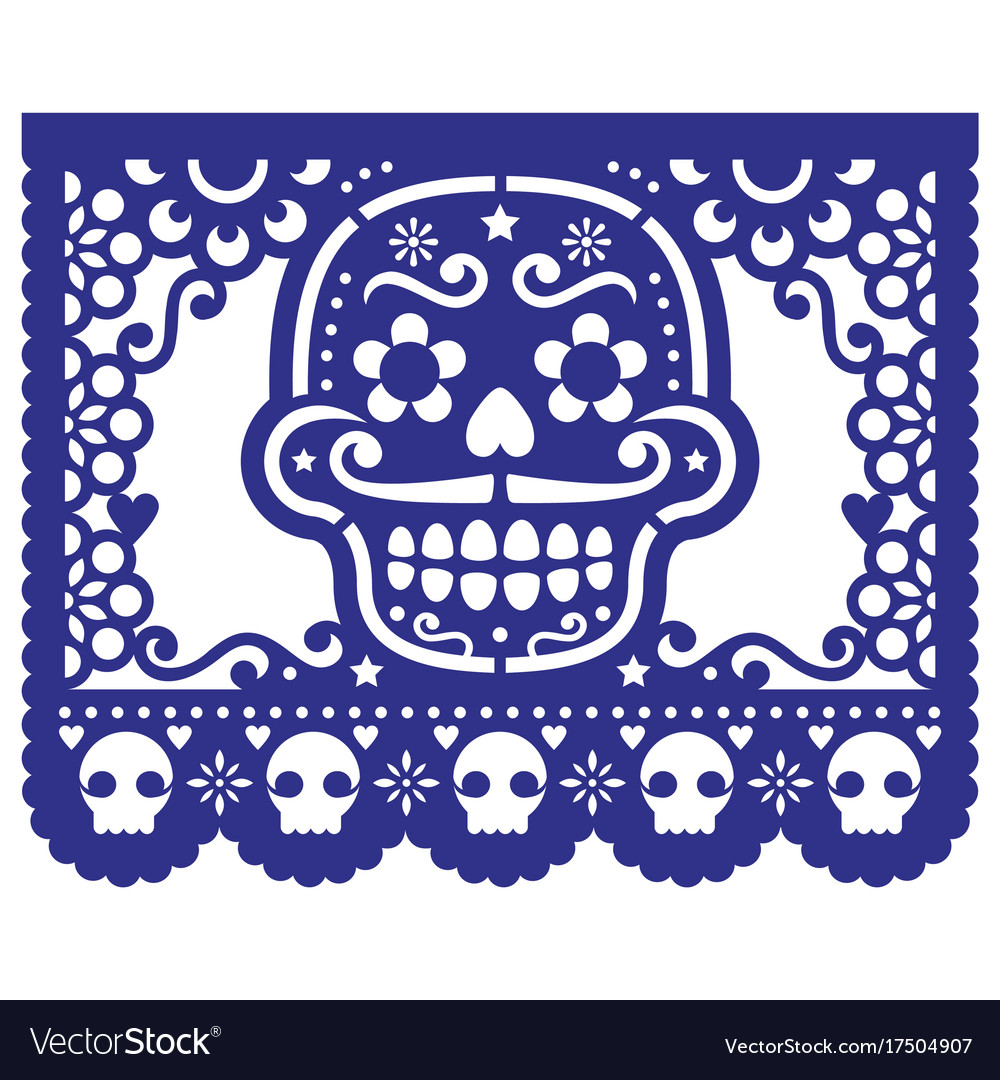 mexican sugar skull design papel picado royalty free vector best clipart subscription Membership Clip Art