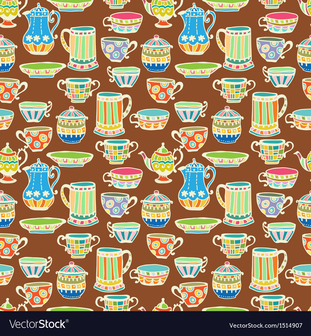 Tea cup seamless background vector image