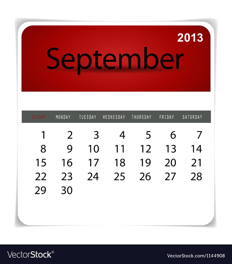 2013 calendar September vector image
