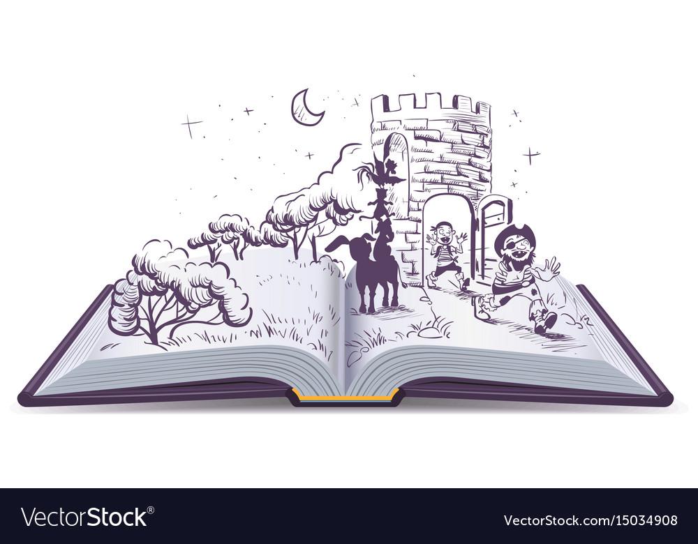 Open book tale of bremen musicians vector image