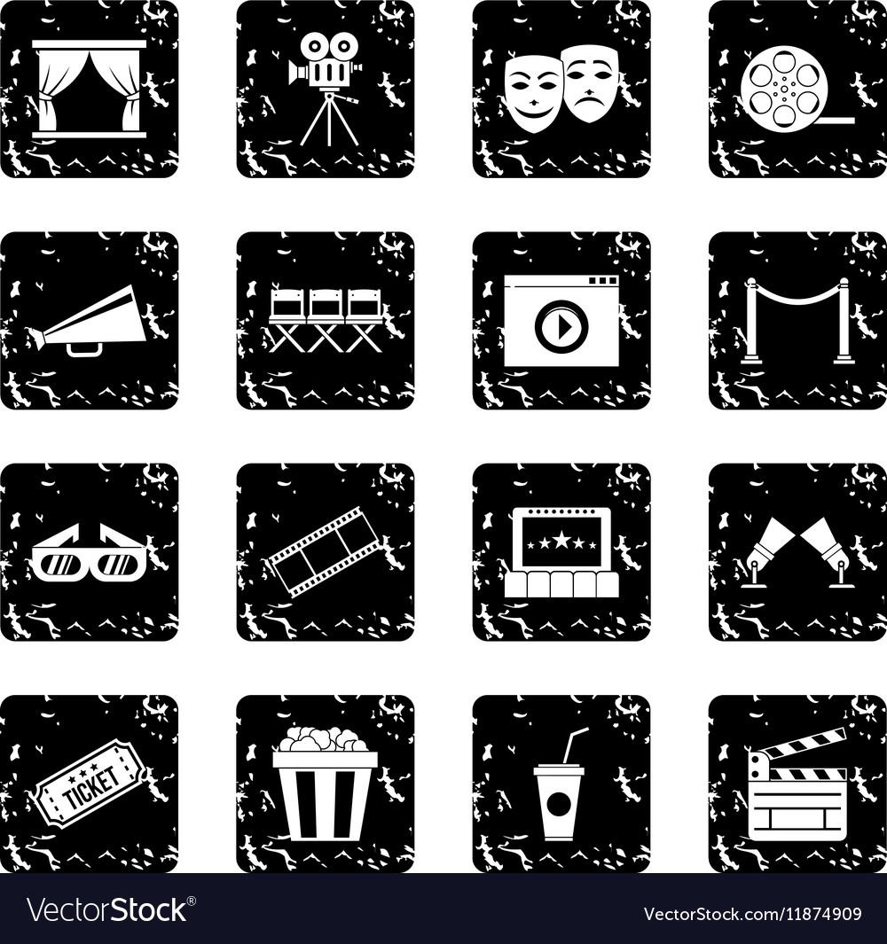 Cinema set icons grunge style vector image