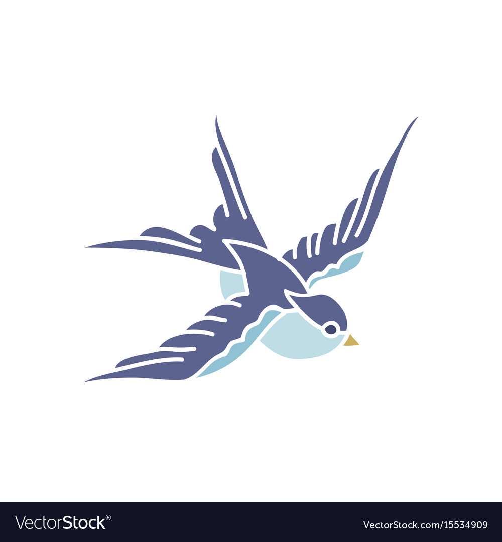 Doodle icon swallow traditional tattoo flash vector image