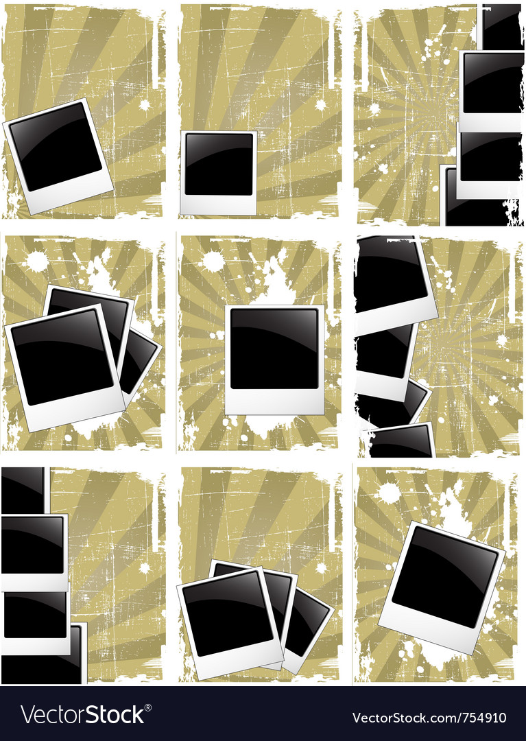 Grunge style photo frames vector image