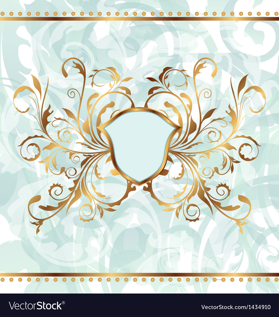 Background with golden ornate and heraldic shield vector image
