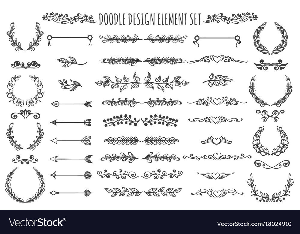 Doodle design element set vector image
